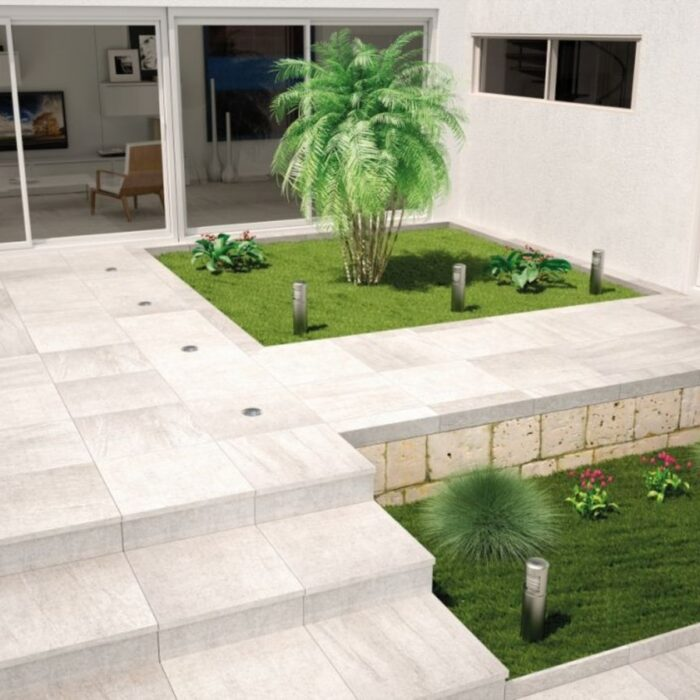 garden with tiles and plants