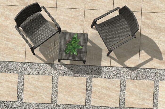 outdoor patio tiled area