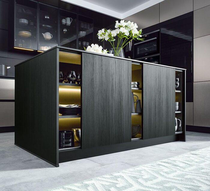 black, storage stops in black modern kitchen