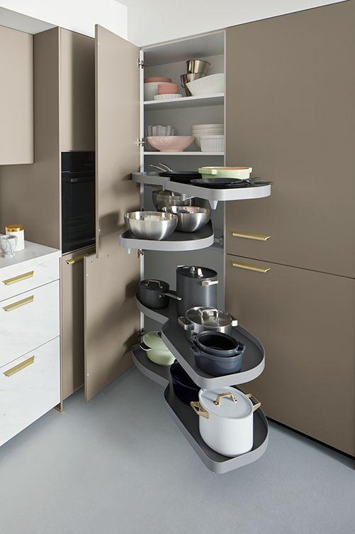 pans, bowls storage in the kitchen cabinate
