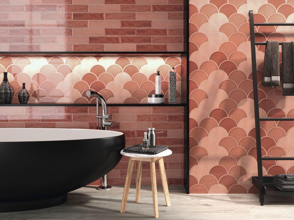 coral themed bathroom tiles